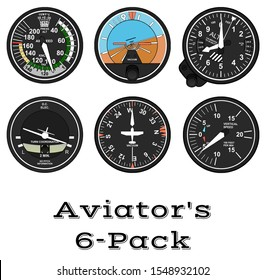 Design of the main aircraft instruments, the 6 Pack