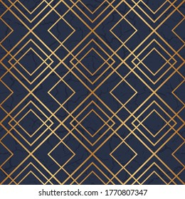 Design marble flooring. Simple floor tile. Diamond seamless pattern. Abstract geometric background grid. Marbling surface tiles. Golden geometric lines. Texture with gold geometric lines. Illustration