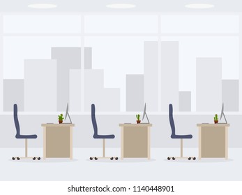 Design of modern empty office side view. Working place interior cartoon style