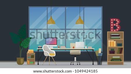 Design Modern Office Designer Workplace Creative Stock Illustration