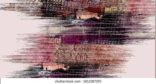Design for modern and trendy vintage patchwork, ikat striped rug, rug, tile pattern. Abstract retro texture. Ornamental Print. Cloth, Cloth, Scarf, Wallpaper, Packaging
