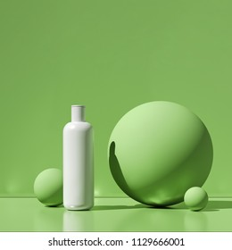 Design of natural cosmetic cream , serum, skincare blank bottle packaging. bio organic product. beauty and spa concept. Abstract green background. 3d illustration