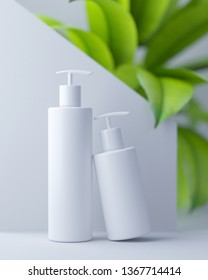Design of natural cosmetic cream, serum, skincare blank bottle packaging with leaves herb, bio organic product. beauty and spa concept. 3d illustartion. Herbal dermatology cosmetic hygienic cream