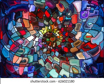 Design In Nature series. Creative arrangement of colorful textures as a concept metaphor on subject of organic designs, forces of nature and abstract art