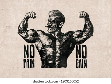 Design Poster No Pain No Gain. Bodybuilder with a mustache. Retro Engraving Linocut Style. Raster Version Illustration.