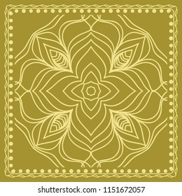 Design print for kerchief. The pattern of the mandala.   illustration. The idea for design prints for neck scarves, carpets, bandanas