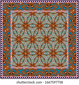 Design print. The pattern of geometric ornament.  illustration. The idea for design prints for neck scarves, carpets, bandanas.