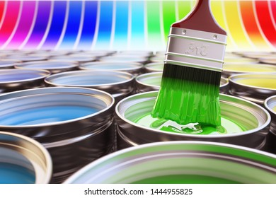 Design and renovation concept, tin metal cans with multicolored paints and a paintbrush with green acrylic paint on the rainbow palette background, 3d illustration
