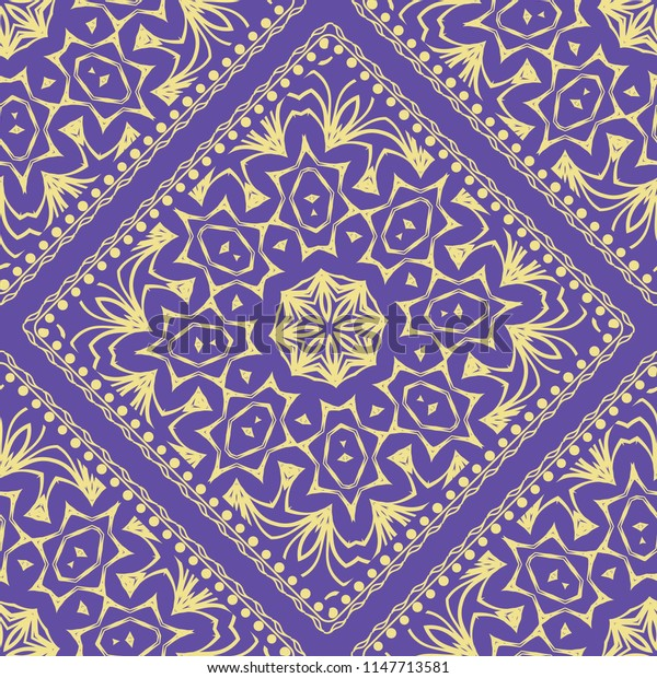 Design of a Scarf with a Geometric Flower Pattern of Mandala.   illustration. Seamless. For Print Bandana, Shawl, Carpet, tablecloth, bed cloth, fashion