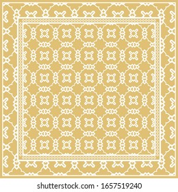 Design of a Scarf with a Geometric Pattern .  illustration. Seamless. For Print Bandana, Shawl, Carpet, tablecloth, bed cloth, fashion.
