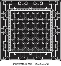 Design Of A Scarf With A Geometric Pattern .  illustration. Black and white color. For fashion print, modern design, scrapbooking, background