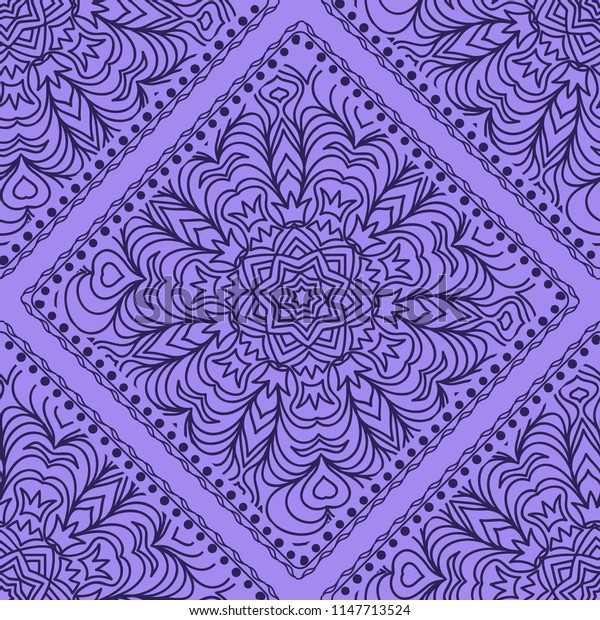 Design of a seamless with a Geometric Flower Pattern of Mandala.   illustration. color. For Print Bandana, Shawl, Carpet