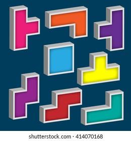 design set of 3D tetris game colorful cubes