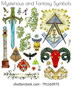 Design set with colorful mystic, esoteric and fantasy symbols isolated on white. Freemasonry and secret societies emblems, occult and spiritual mystic drawings. Tattoo fantasy design, new world order