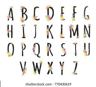 Design set  letters  alphabet with watercolor flowers.