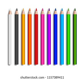 Design set of realistic colored pencils on transparent background. School items, colorful pencil  illustration.