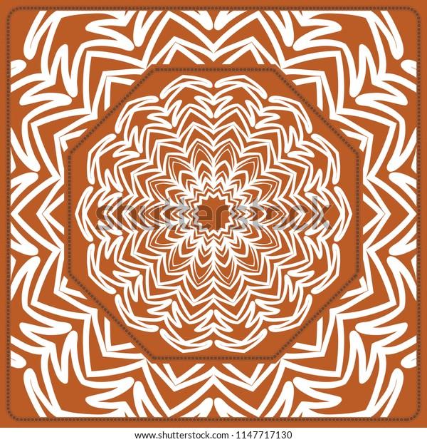 Design of the Silk Shawl Print with Geometric Flower Pattern. For Print Bandana, Shawl, Carpet.   illustration.