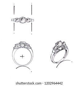 The design of the sketch ring on paper is the top, side and 3-dimensional stripes.