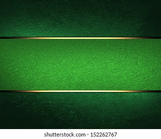 Design template. Green background with green ribbon and old vintage grunge background