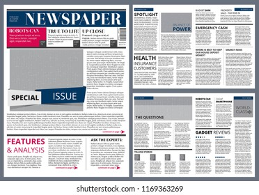design template of newspaper. Newspaper page layout, journal modular publication illustration