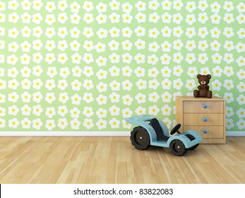 Design wall  painted room  baby  flower