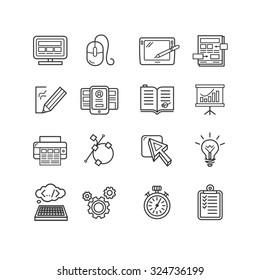 Design web site development theme icon set. illustration