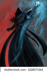 Design of wizard of fire and ice wizard under dark hood doing magic