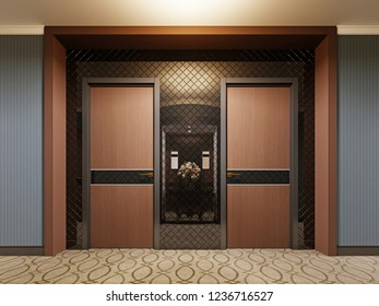 Design wooden doors in the hotel corridor. 3d rendering.