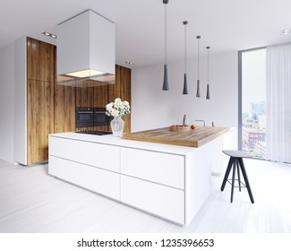 Designed corner white kitchen in the Scandinavian style. With hardwood bar top with pendant lights and hood. 3d rendering