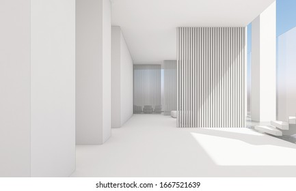 Designed a large white hall with natural light from outside. 3d rendering,illustration