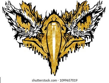 Designed via Photoshop, this intimidating Eagle's face consists of dripping gold paint.