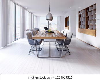 Designer dining table in the loft-style apartment with large hanging lamps, hardwood tabletop, creative chairs. 3d rendering