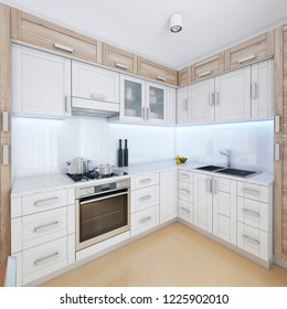 Designer kitchen in contemporary style in pastel colors. 3D rendering