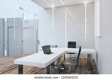Designer office interior with furniture and daylight. 3D Rendering