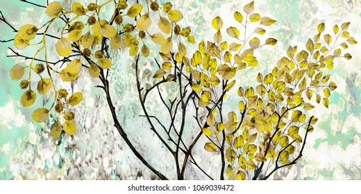 Designer oil painting. Decoration for the interior. Modern abstract art on canvas. Set of pictures with different textures and colors. Tree with yellow leaves on blue background.