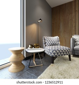 Designer soft armchair in loft style with two creative side tables with decor and floor lamp, patterned fabric. 3d rendering.