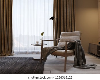 Designer soft armchair with wooden legs and a knitted blanket thrown over, near the TV unit in a modern bedroom. 3d rendering.