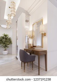 Designer working and dressing table made of wood with a mirror in a gilded frame and glowing sconces on the wall in the suite. 3d rendering.