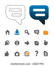 Designer's icons for website. Raster version. For vector version of this image, see my portfolio.