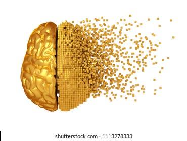 Desintegration Of Golden Digital Brain On White Background. 3D Illustration.