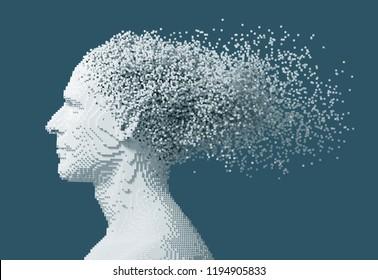 Desintegration On 3D Pixels Of Digital Man's Head On Blue Background. 3D Illustration.