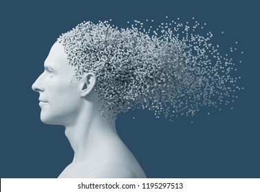 Desintegration On 3D Pixels Of Man's Head On Blue Background. 3D Illustration.