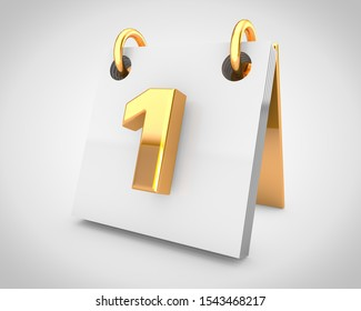 Desk calendar, day 1 of the month. 3D rendered simple calendar with gold design elements isolated on white background.