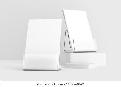 Desk Calendar With Transparent Plastic Stand 3D Rendered White Blank Mockup