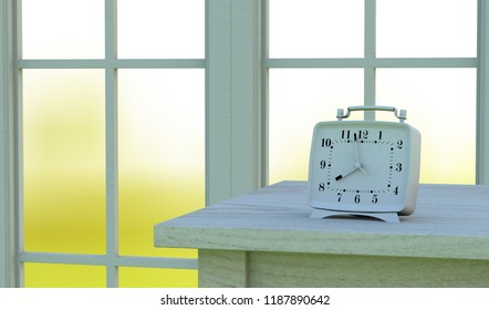Desk clock on the table 3d rendering
