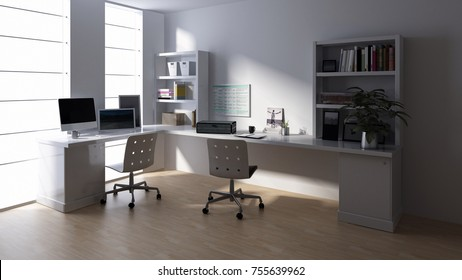 Desk with computer at empty workstation in bright office room. 3d Rendering