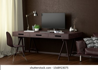 Desk with computer monitor. Workplace in the studio or at home with brown wall. Clipping path around display. 3d illustration