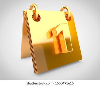 Desk golden calendar day 1 of the month. 3D rendered calendar with gold design elements isolated on white background.