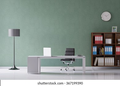 Desk with laptop computer in a home office (3D Rendering)