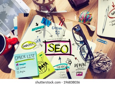 Desk with Notes About SEO